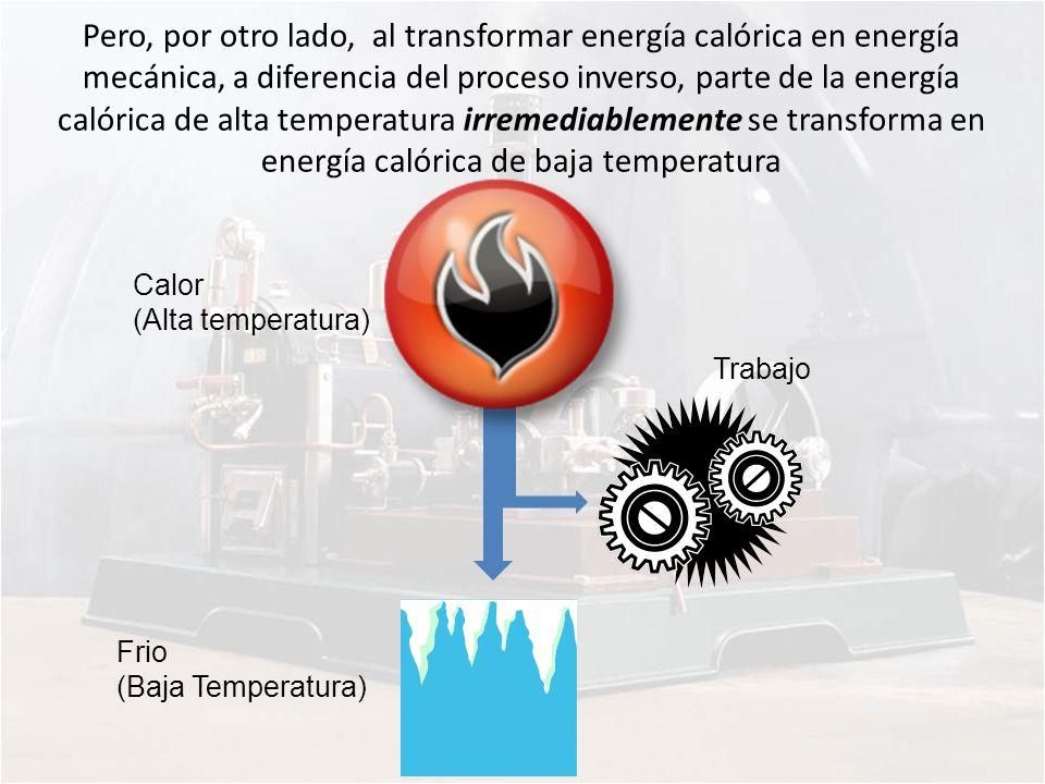 Pero, por otro lado, al transformar energía calórica en energía mecánica, a diferencia del proceso inverso, parte de la energía calórica de alta temperatura irremediablemente se transforma en energía calórica de baja temperatura