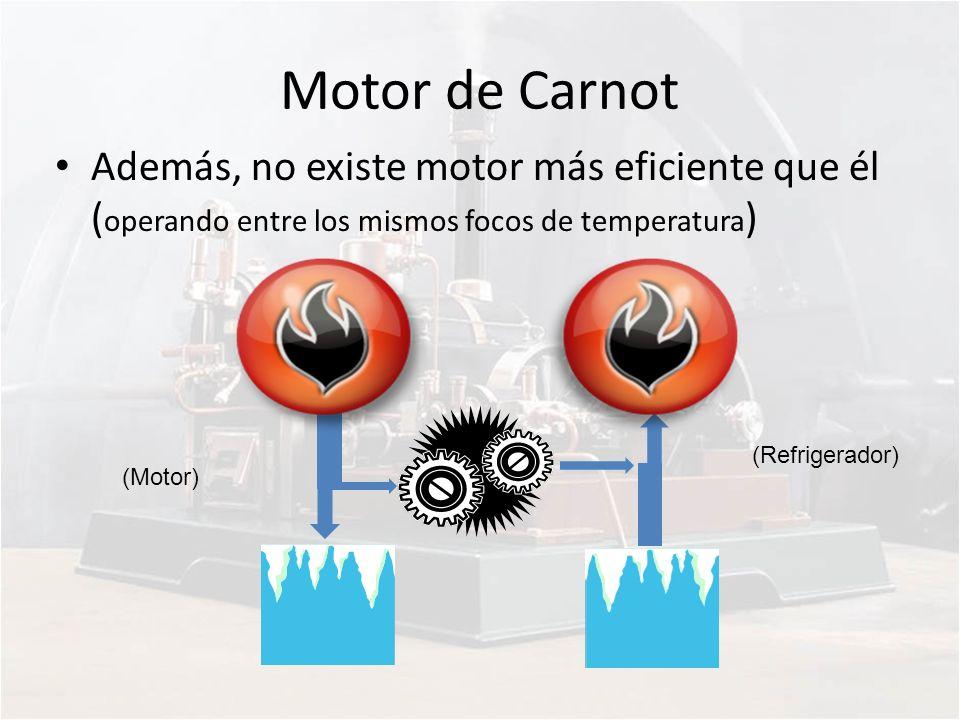 Motor de Carnot Además, no existe motor más eficiente que él (operando entre los mismos focos de temperatura)