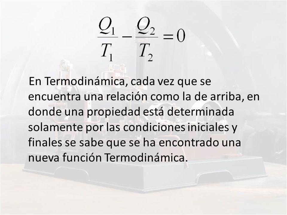 En Termodinámica, cada vez que se encuentra una relación como la de arriba, en donde una propiedad está determinada solamente por las condiciones iniciales y finales se sabe que se ha encontrado una nueva función Termodinámica.