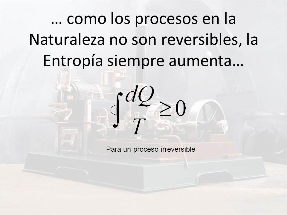 … como los procesos en la Naturaleza no son reversibles, la Entropía siempre aumenta…