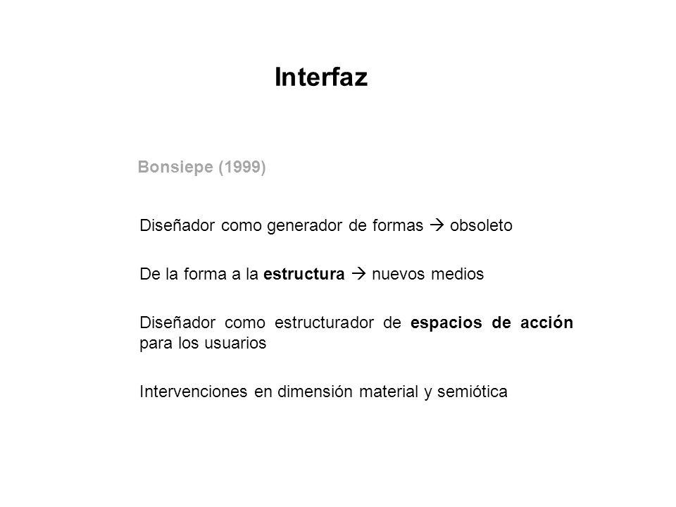 Interfaz Bonsiepe (1999) De la forma a la estructura  nuevos medios