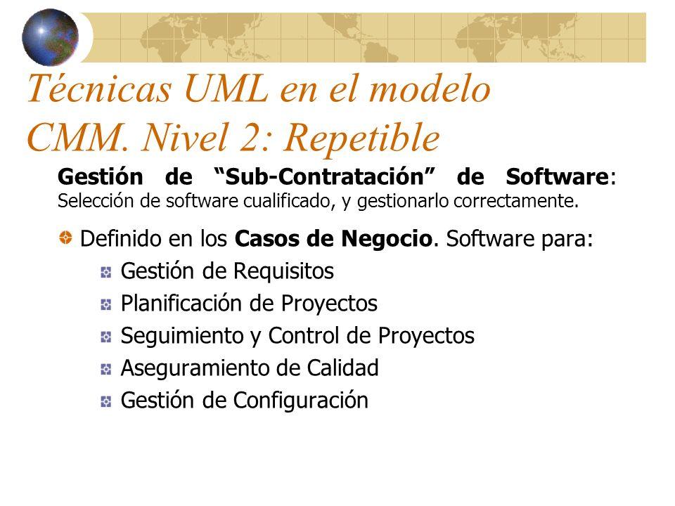 Técnicas UML en el modelo CMM. Nivel 2: Repetible