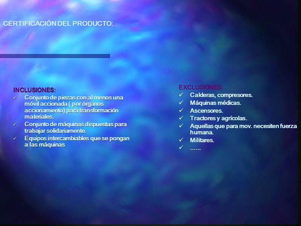 CERTIFICACIÓN DEL PRODUCTO: