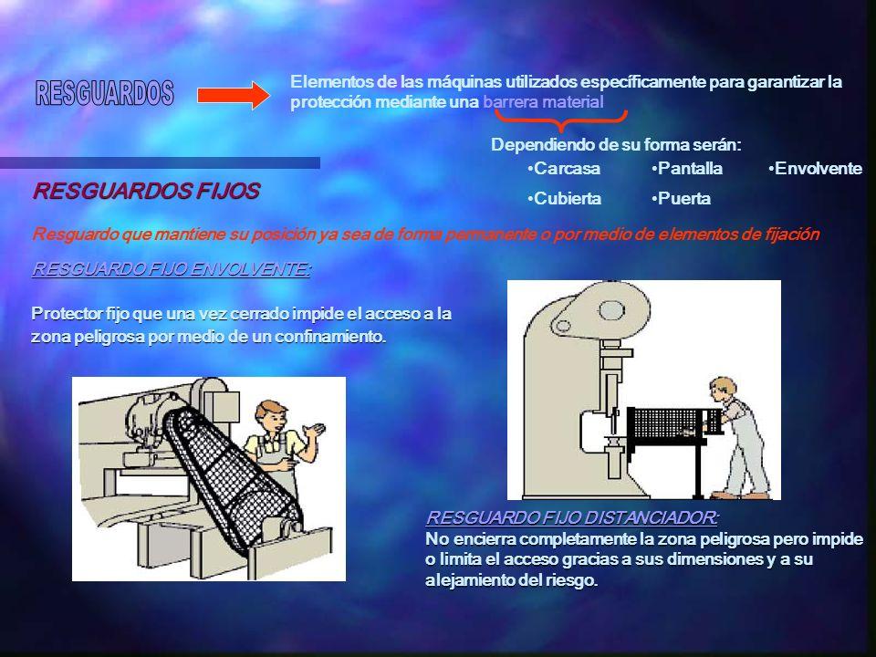Elementos de las máquinas utilizados específicamente para garantizar la protección mediante una barrera material