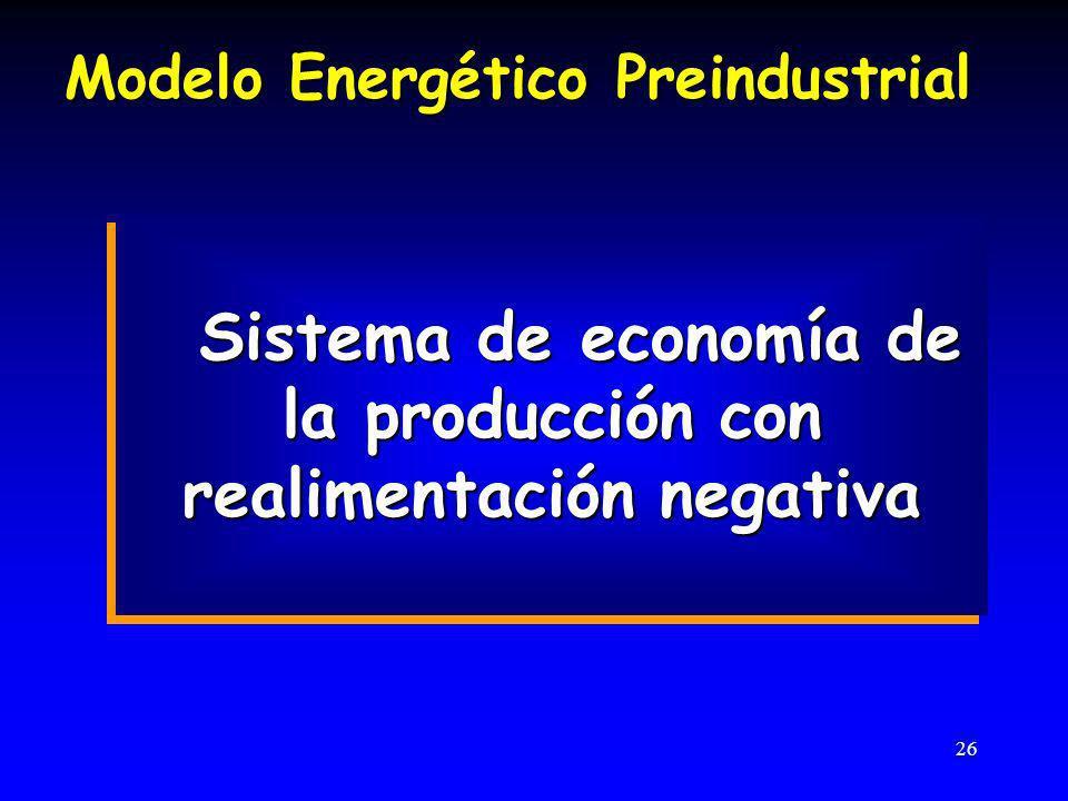 Sistema de economía de la producción con realimentación negativa
