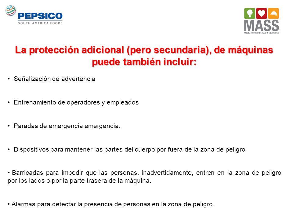 La protección adicional (pero secundaria), de máquinas puede también incluir: