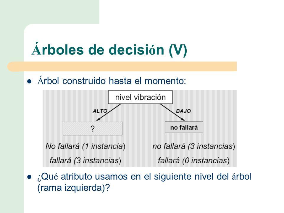 Árboles de decisión (V)