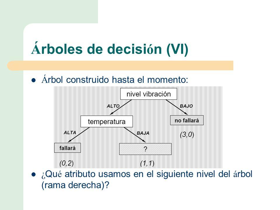 Árboles de decisión (VI)