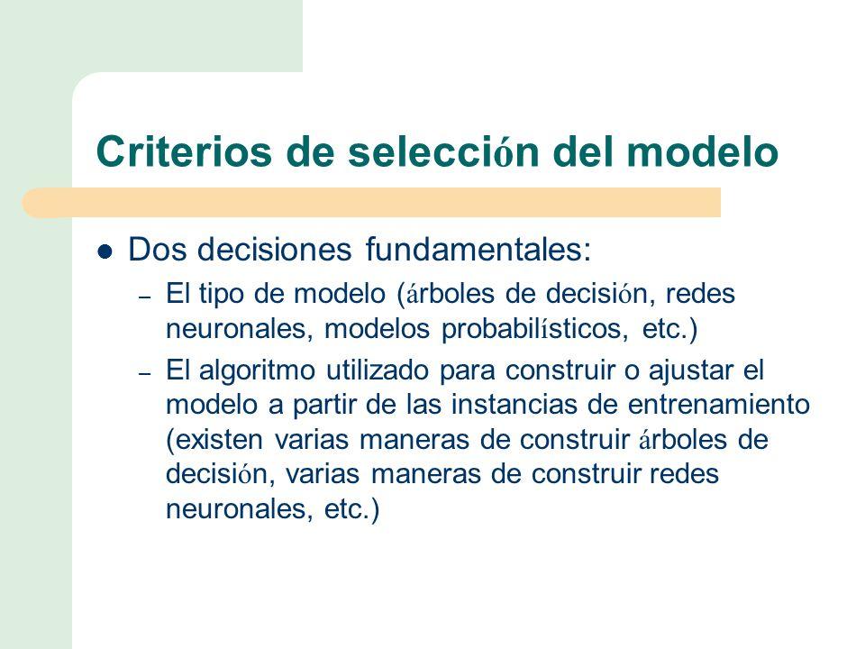 Criterios de selección del modelo