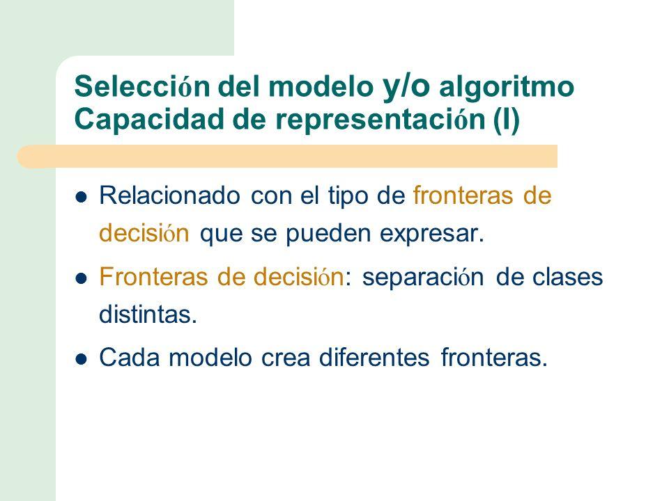Selección del modelo y/o algoritmo Capacidad de representación (I)