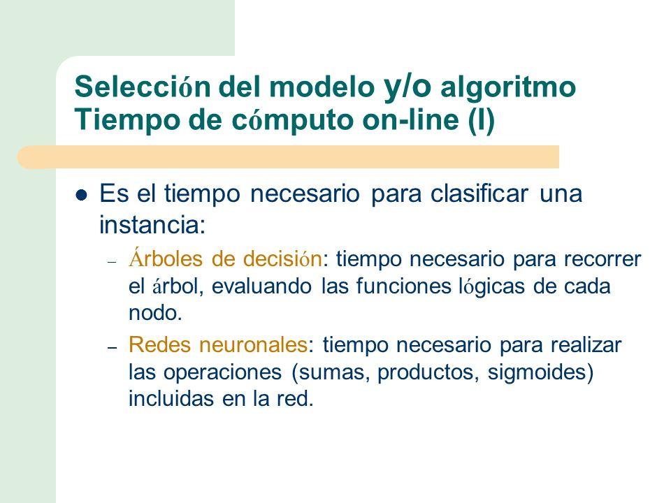 Selección del modelo y/o algoritmo Tiempo de cómputo on-line (I)