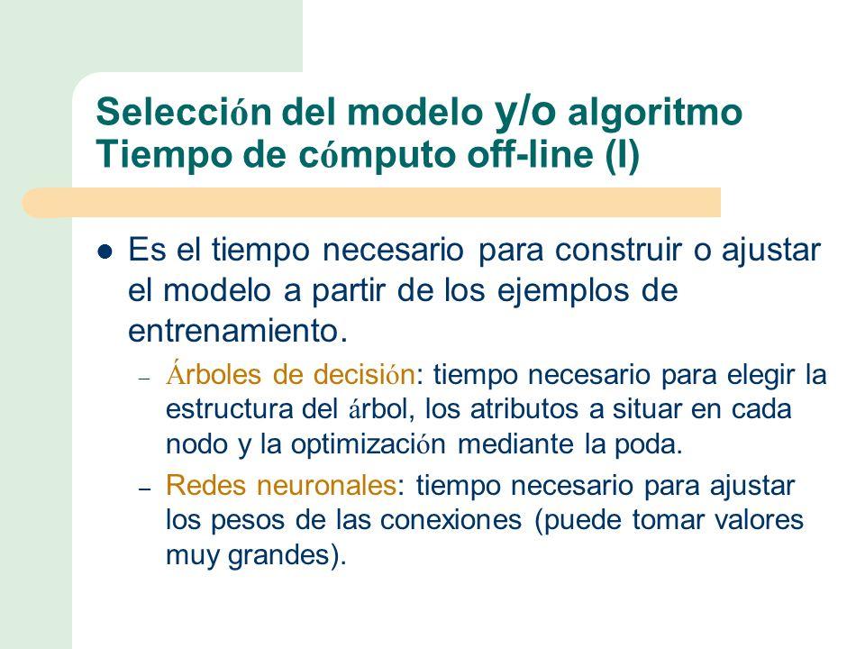 Selección del modelo y/o algoritmo Tiempo de cómputo off-line (I)