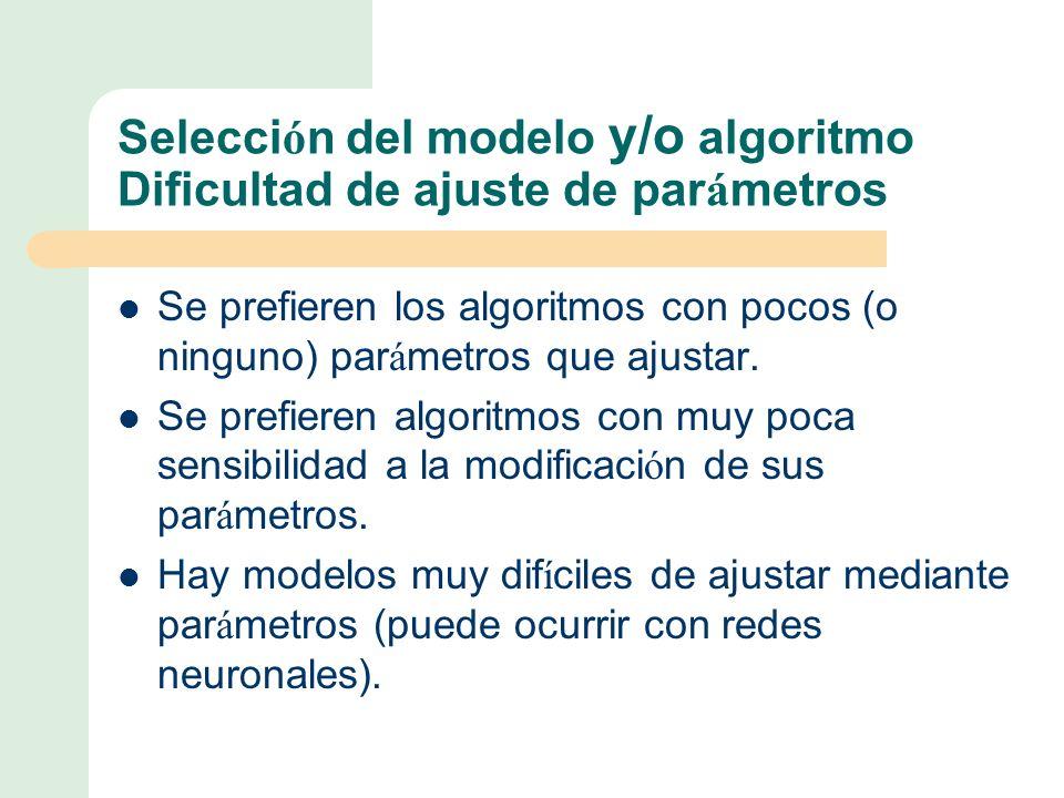 Selección del modelo y/o algoritmo Dificultad de ajuste de parámetros