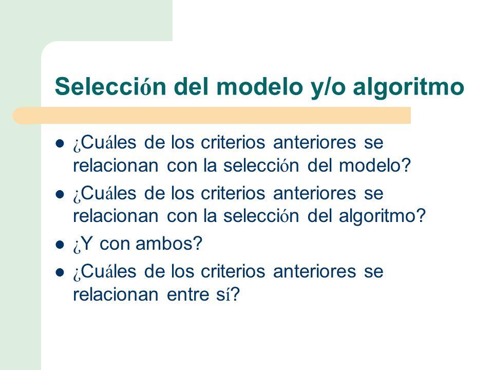 Selección del modelo y/o algoritmo