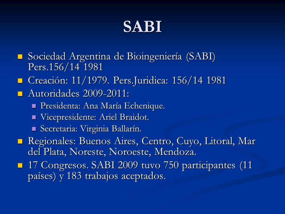 SABI Sociedad Argentina de Bioingeniería (SABI) Pers.156/14 1981