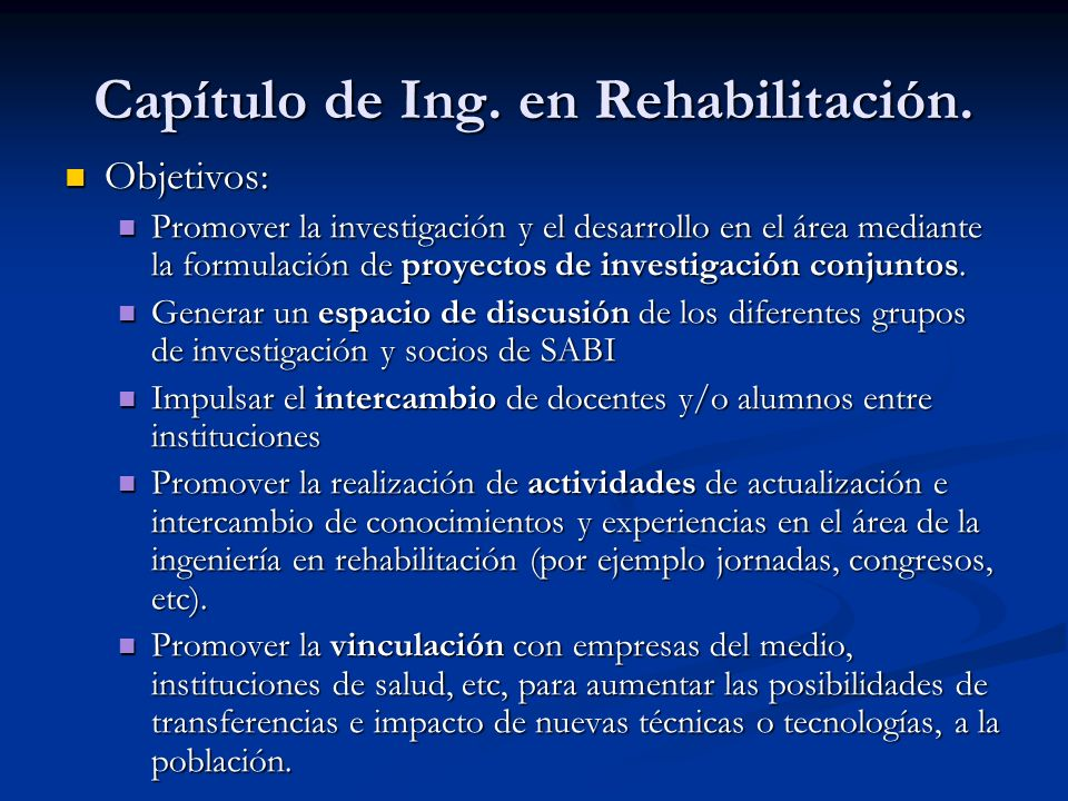 Capítulo de Ing. en Rehabilitación.