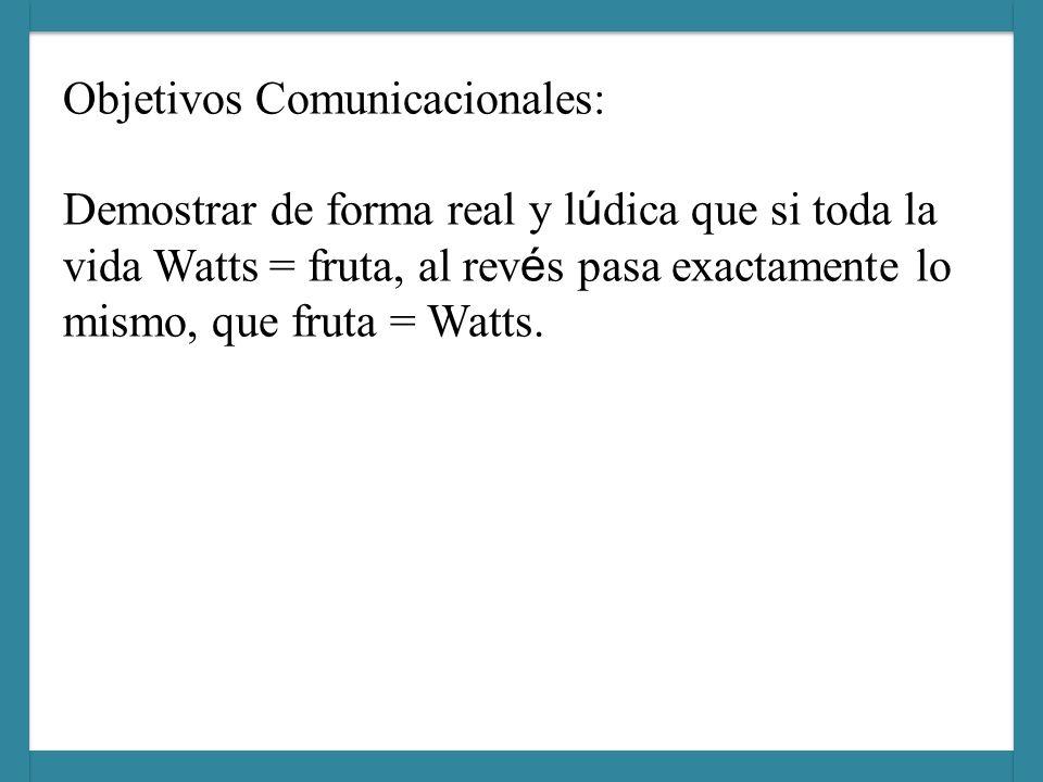 Objetivos Comunicacionales: Demostrar de forma real y lúdica que si toda la vida Watts = fruta, al revés pasa exactamente lo mismo, que fruta = Watts.