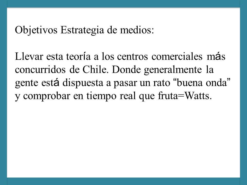 Objetivos Estrategia de medios: Llevar esta teoría a los centros comerciales más concurridos de Chile.