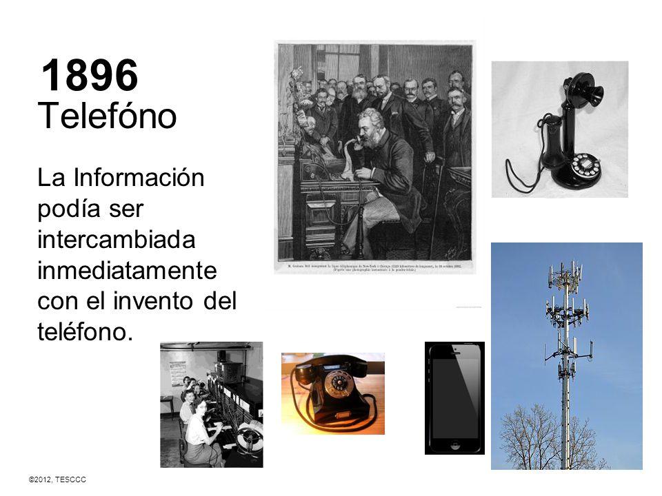 1896 Telefóno. La Información podía ser intercambiada inmediatamente con el invento del teléfono.