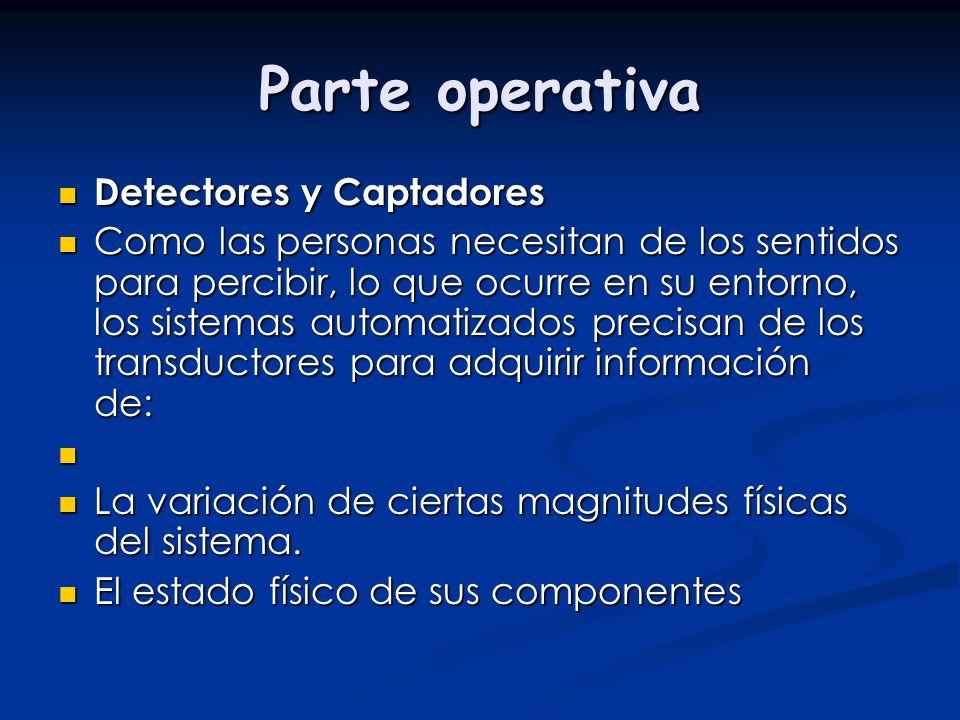 Parte operativa Detectores y Captadores