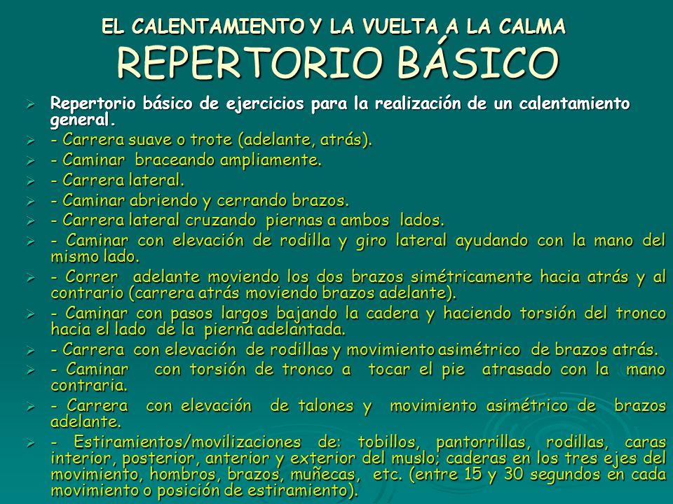 EL CALENTAMIENTO Y LA VUELTA A LA CALMA REPERTORIO BÁSICO