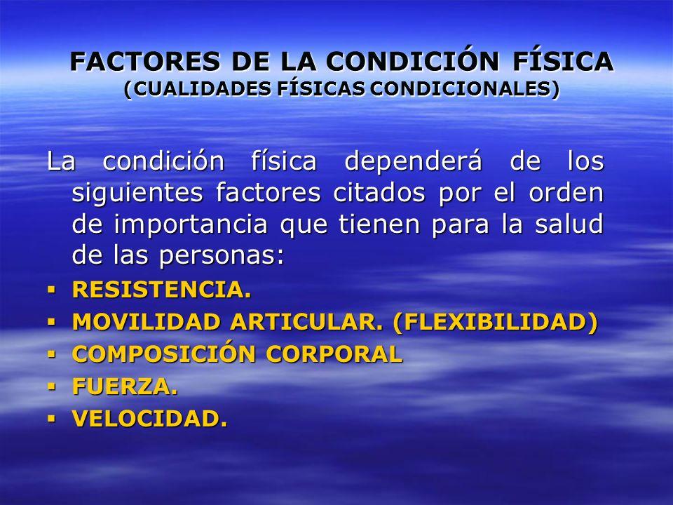 FACTORES DE LA CONDICIÓN FÍSICA (CUALIDADES FÍSICAS CONDICIONALES)