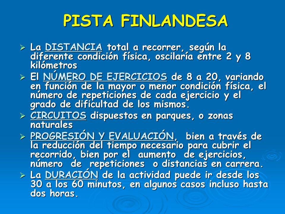 PISTA FINLANDESA La DISTANCIA total a recorrer, según la diferente condición física, oscilaría entre 2 y 8 kilómetros.