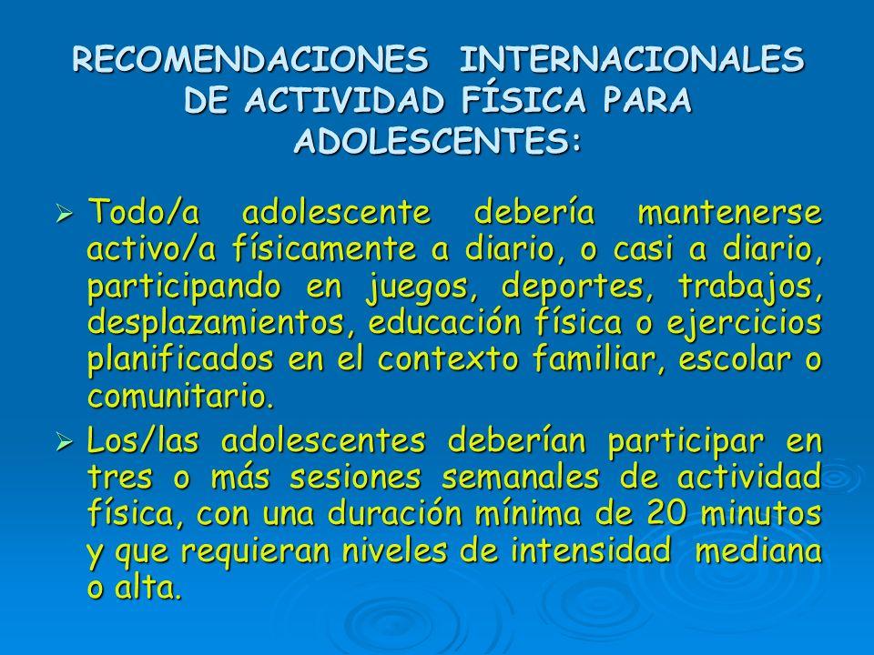 RECOMENDACIONES INTERNACIONALES DE ACTIVIDAD FÍSICA PARA ADOLESCENTES: