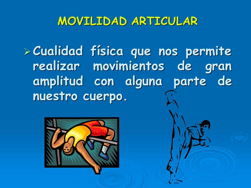 MOVILIDAD ARTICULAR Cualidad física que nos permite realizar movimientos de gran amplitud con alguna parte de nuestro cuerpo.