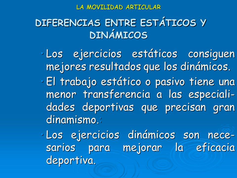 LA MOVILIDAD ARTICULAR DIFERENCIAS ENTRE ESTÁTICOS Y DINÁMICOS