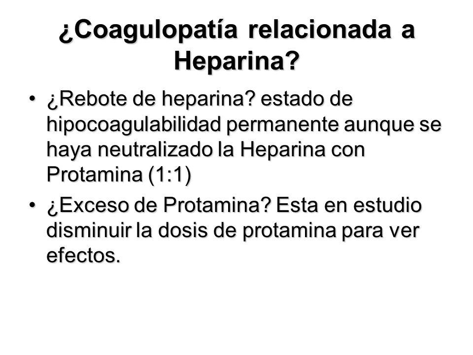 ¿Coagulopatía relacionada a Heparina