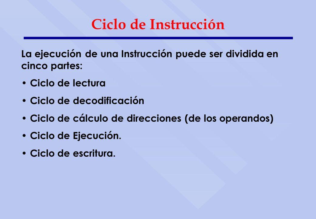Ciclo de Instrucción La ejecución de una Instrucción puede ser dividida en cinco partes: Ciclo de lectura.