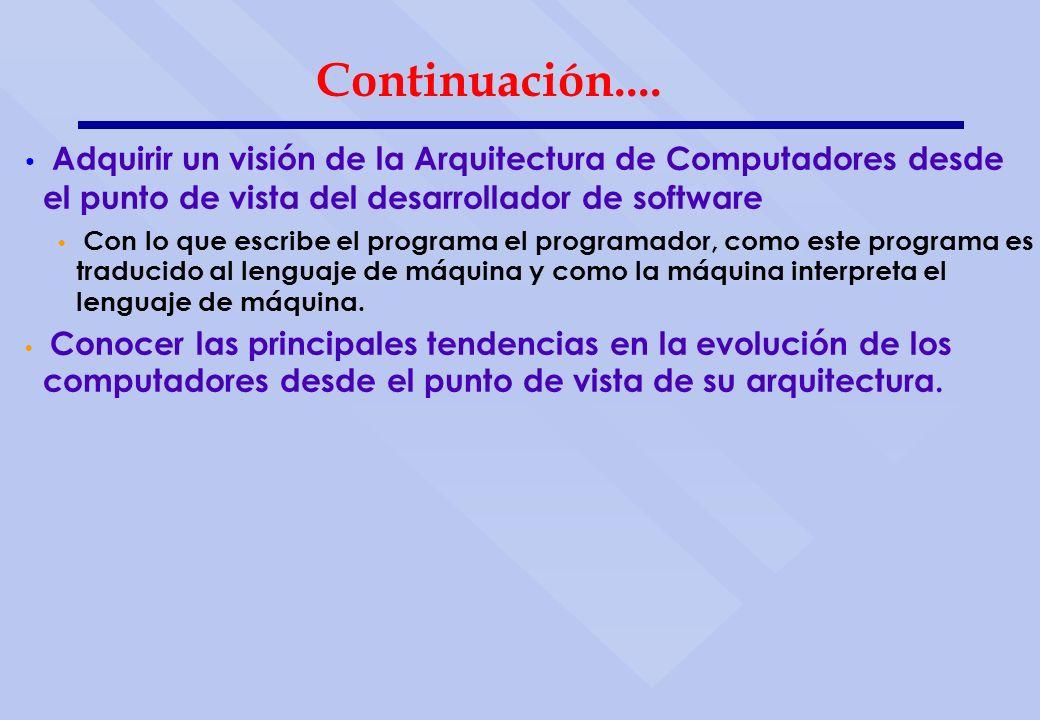 Continuación.... Adquirir un visión de la Arquitectura de Computadores desde el punto de vista del desarrollador de software.