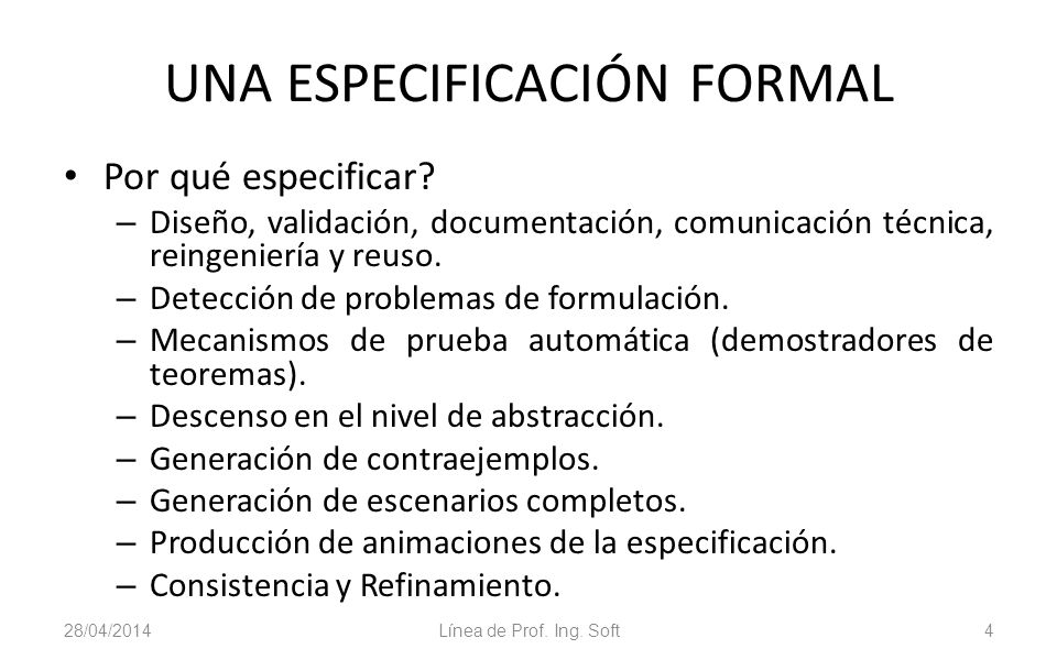 UNA ESPECIFICACIÓN FORMAL