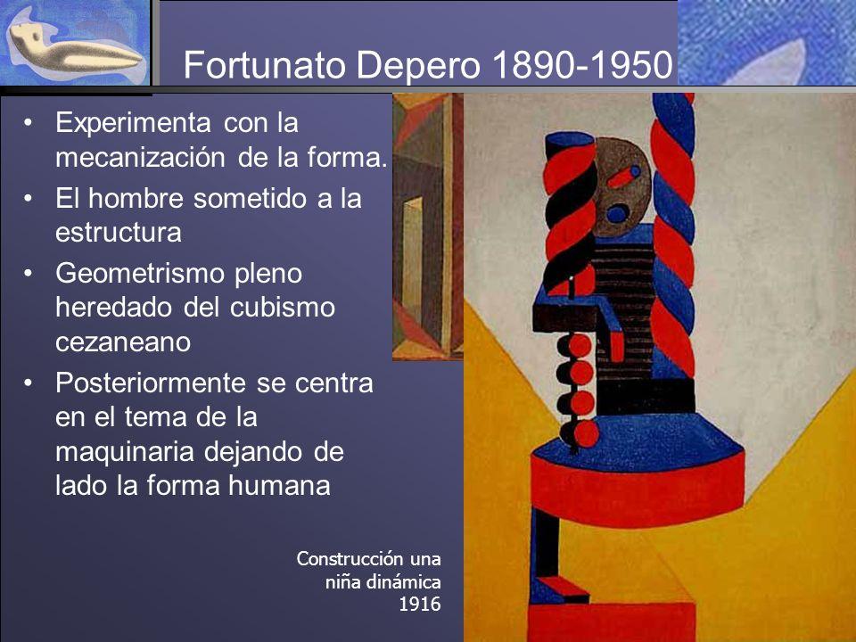 Fortunato Depero 1890-1950 Experimenta con la mecanización de la forma. El hombre sometido a la estructura.