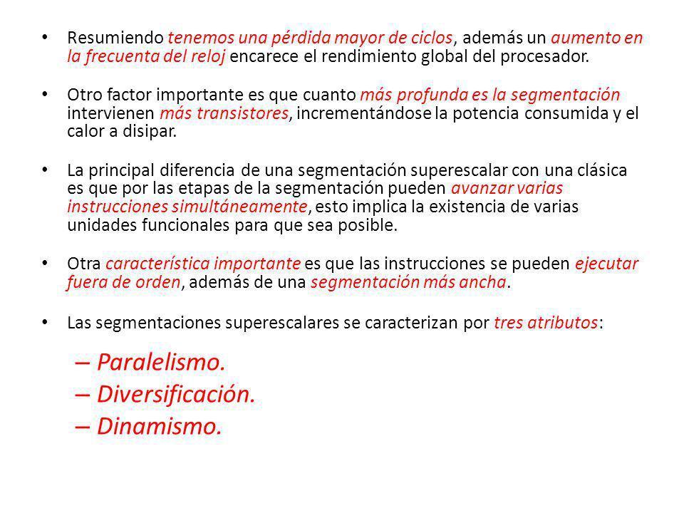 Paralelismo. Diversificación. Dinamismo.