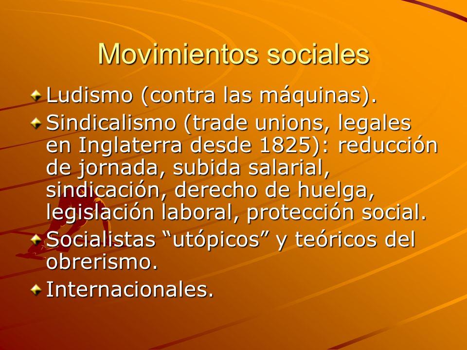 Movimientos sociales Ludismo (contra las máquinas).