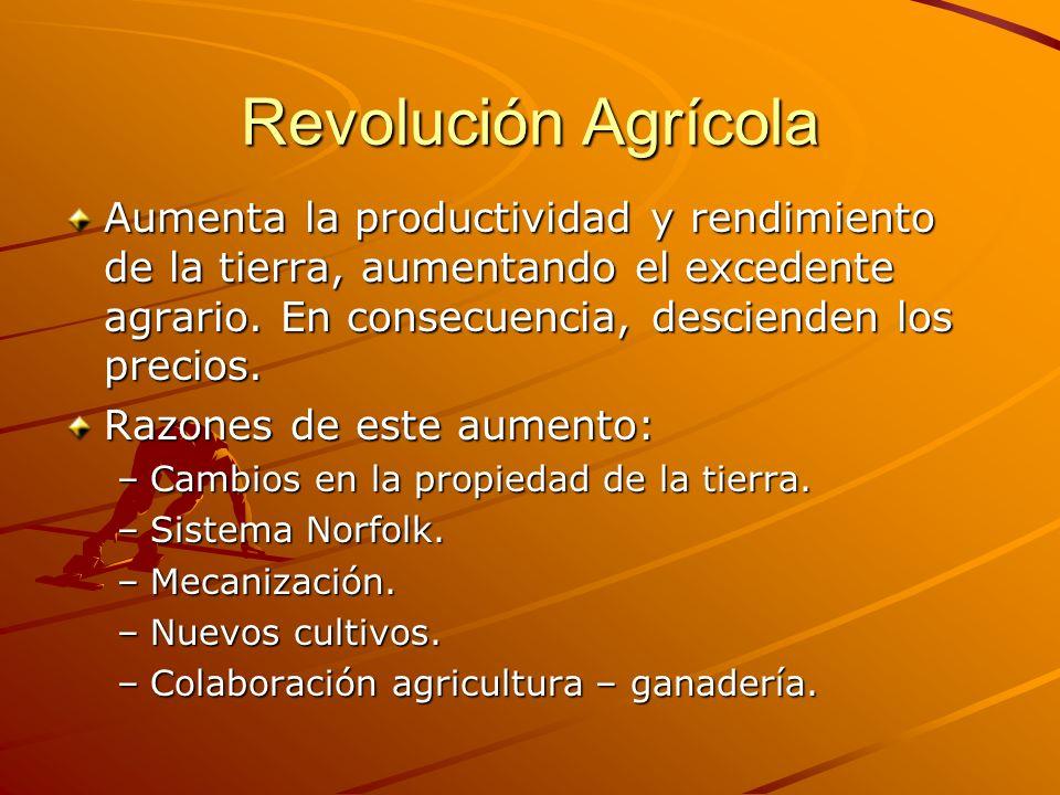 Revolución Agrícola Aumenta la productividad y rendimiento de la tierra, aumentando el excedente agrario. En consecuencia, descienden los precios.