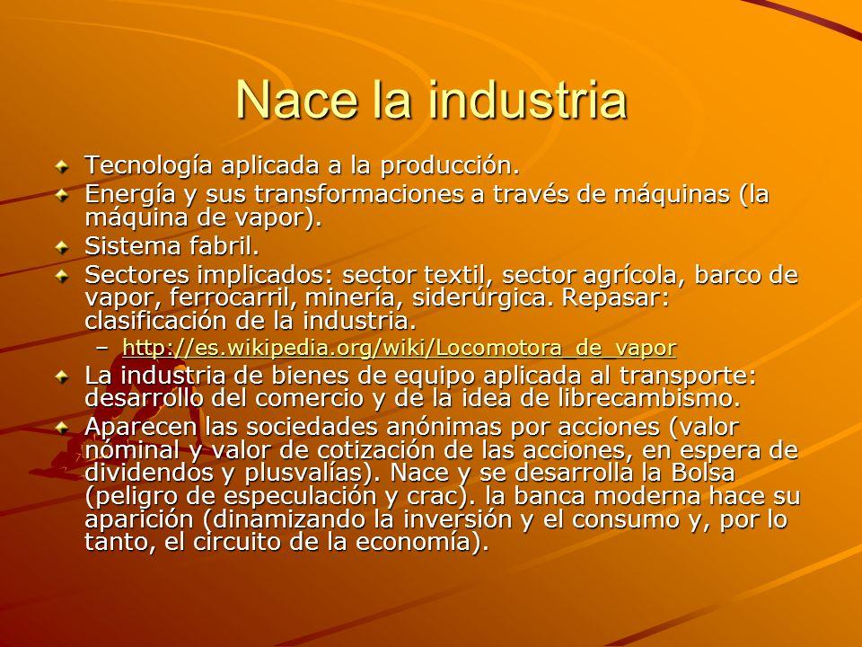 Nace la industria Tecnología aplicada a la producción.