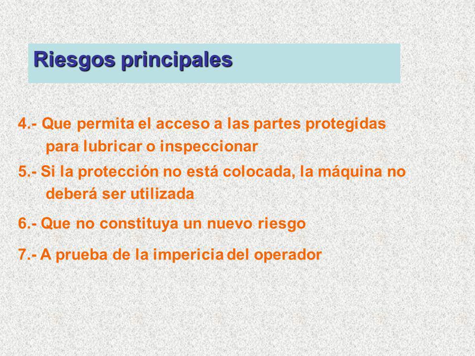 Riesgos principales 4.- Que permita el acceso a las partes protegidas para lubricar o inspeccionar.