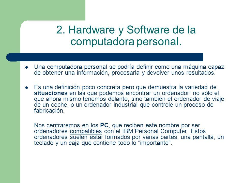 2. Hardware y Software de la computadora personal.