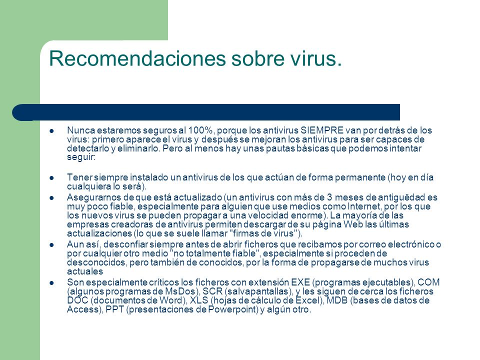 Recomendaciones sobre virus.