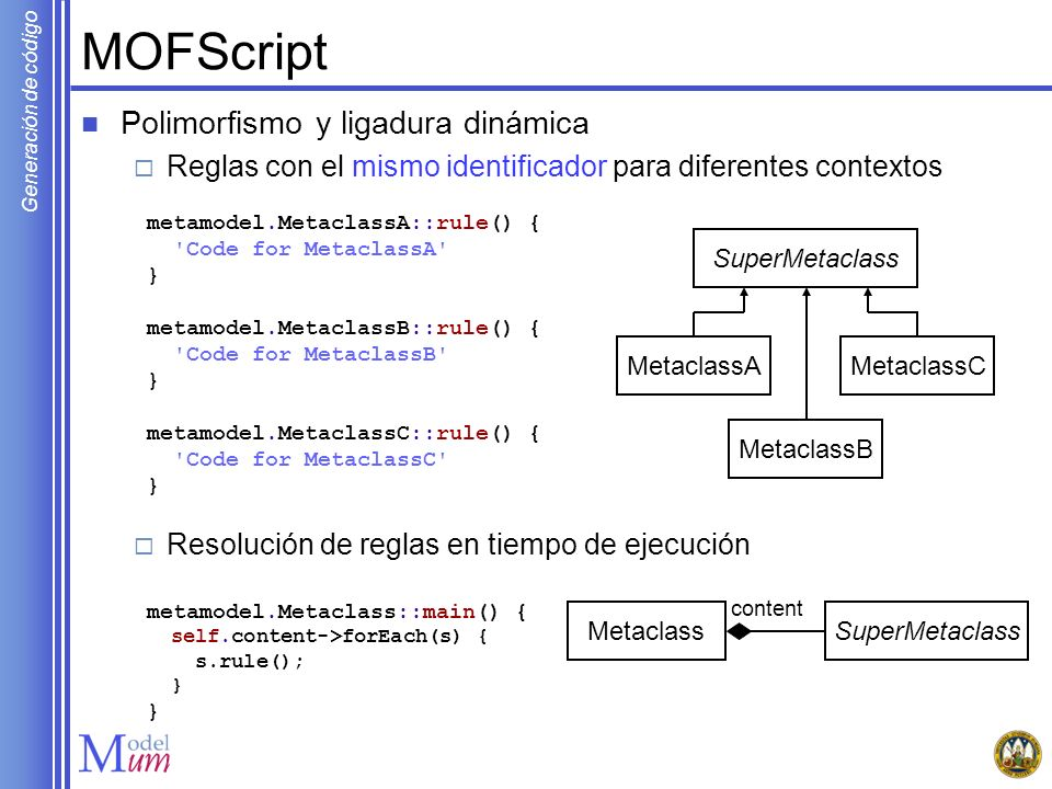 MOFScript Polimorfismo y ligadura dinámica