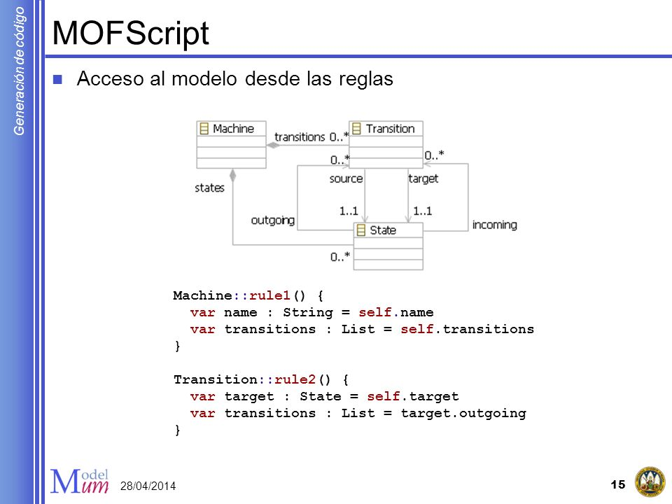 MOFScript Acceso al modelo desde las reglas Machine::rule1() {