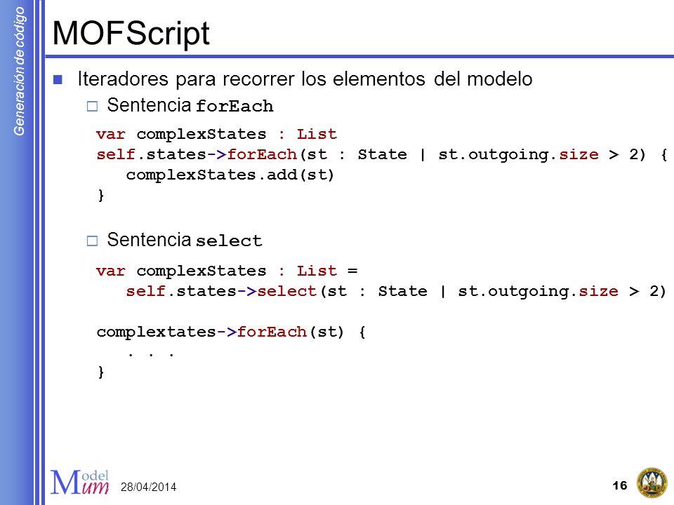 MOFScript Iteradores para recorrer los elementos del modelo