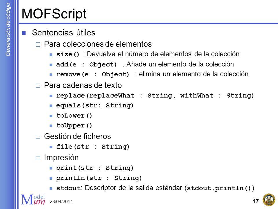 MOFScript Sentencias útiles Para colecciones de elementos