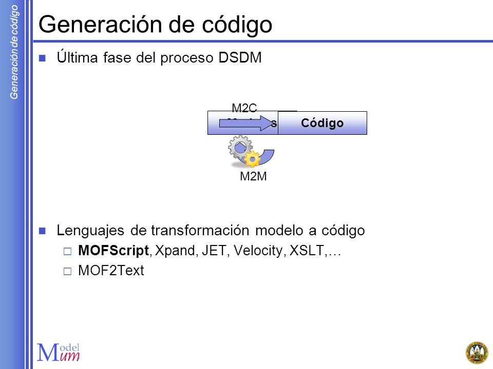 Generación de código Última fase del proceso DSDM