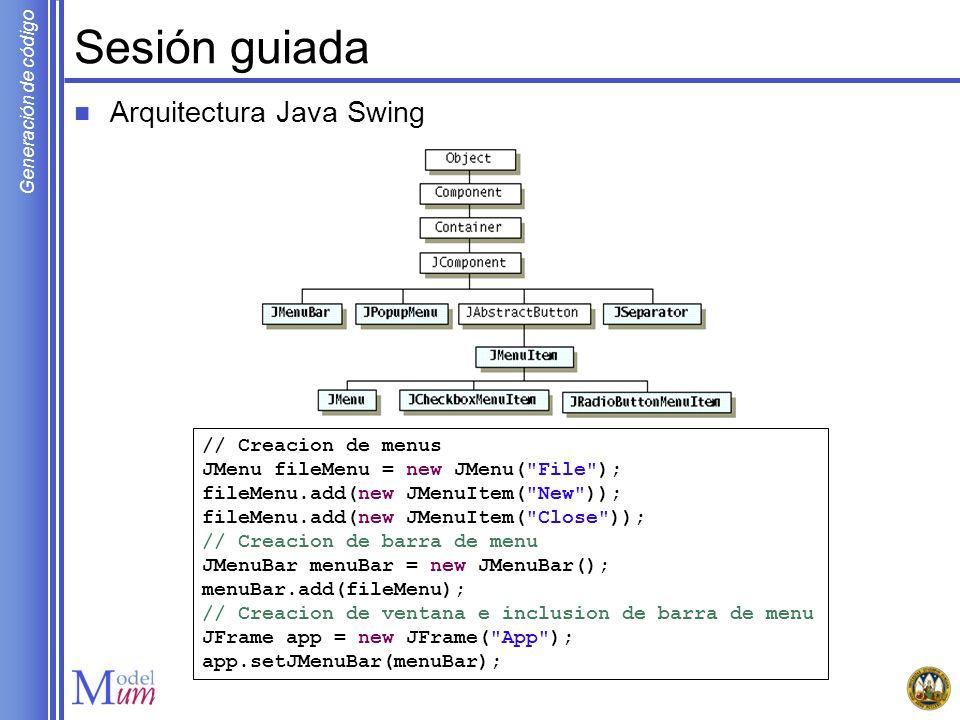 Sesión guiada Arquitectura Java Swing // Creacion de menus