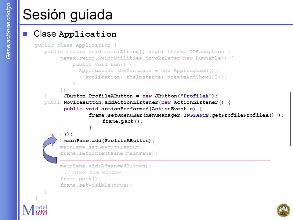 Sesión guiada Clase Application