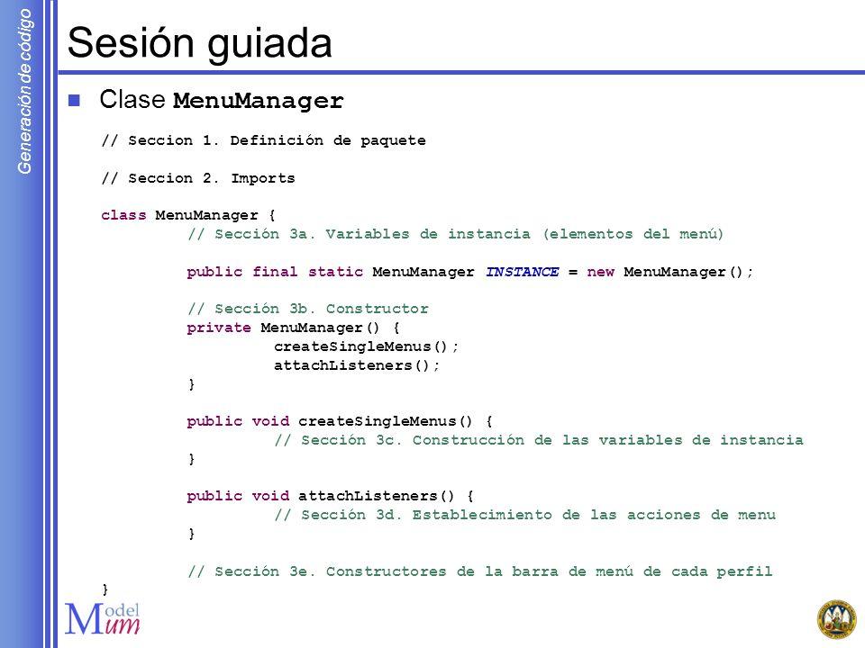 Sesión guiada Clase MenuManager // Seccion 1. Definición de paquete